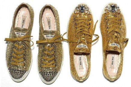 Miu Miu bling bling // sparkly sneakers? Sure.