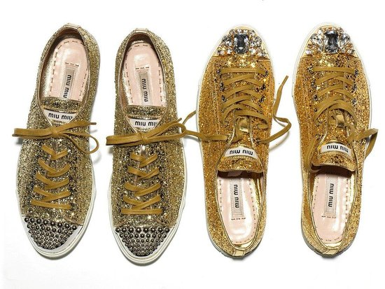miu miu bling bling sparkly sneakers sure le blow. Black Bedroom Furniture Sets. Home Design Ideas