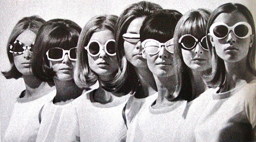 five retro girls in sunglasses