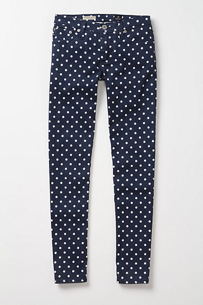 Anthropologie polka dot jeans blue white