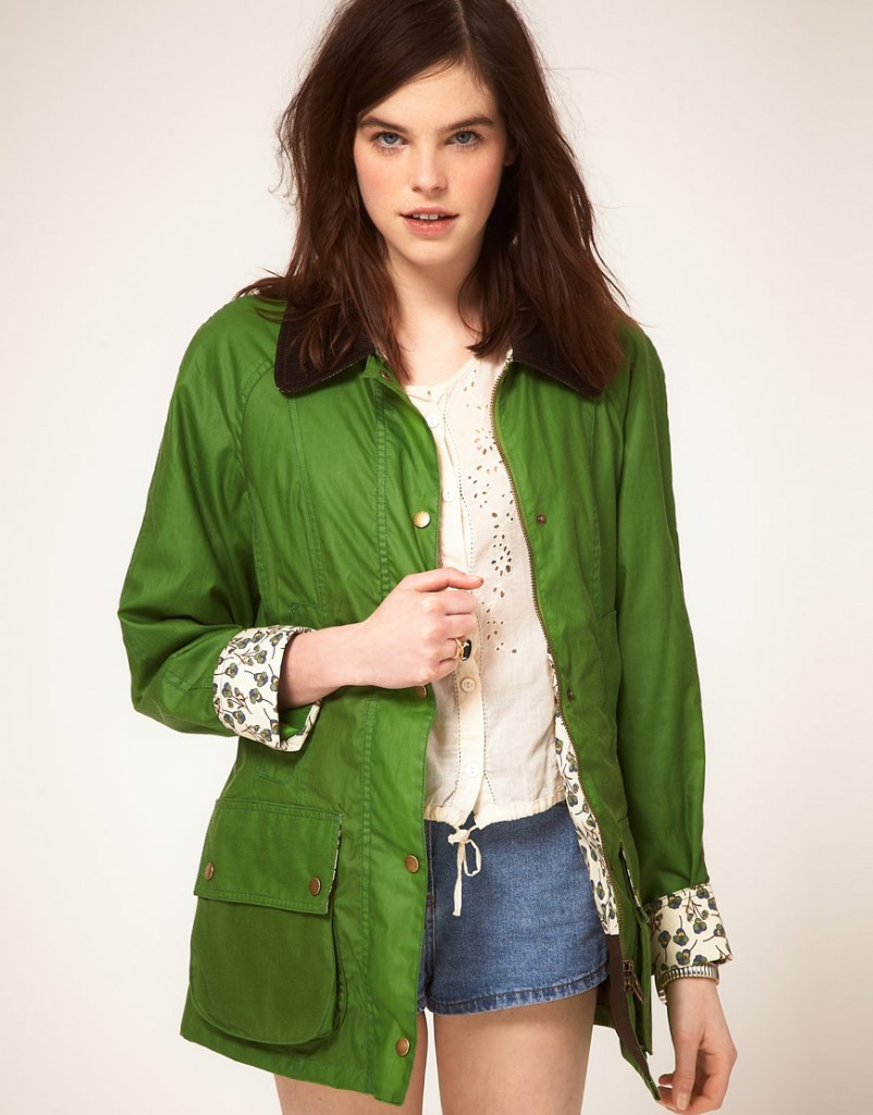 Barbour jacket with Liberty print lining