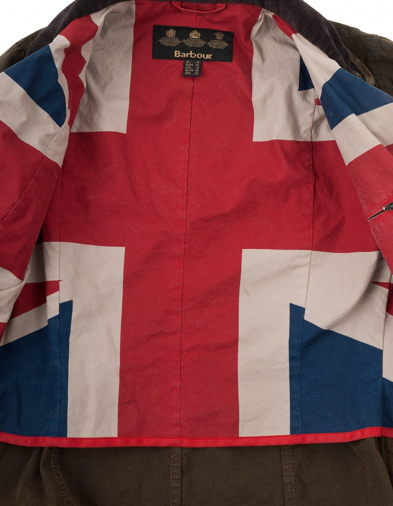 Barbour jacket with Union Jack lining