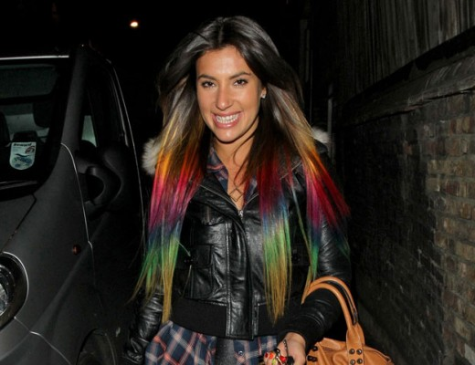 Gabriella Ellis with rainbow dip dyed hair