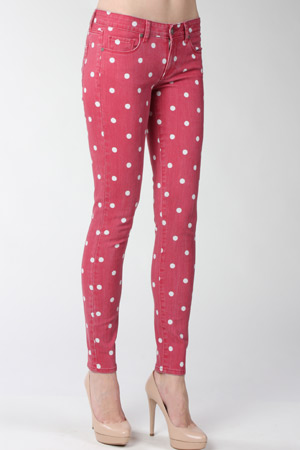 Paige denim polka dot jeans raspberry