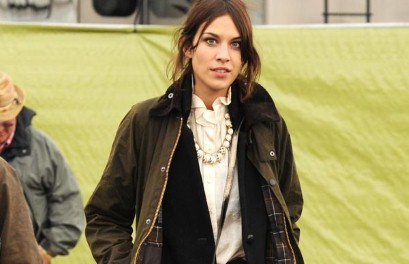 Alexa Chung in a Barbour jacket