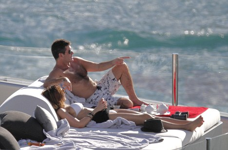 Simon Cowell relaxing on his yacht