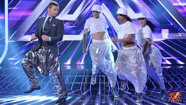 Dermot OLeary silver MC Hammer pants X Factor
