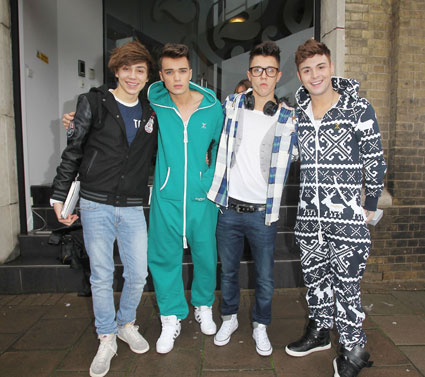 X Factor Union J in onesies