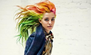 Chloe Norgaard rainbow haired model
