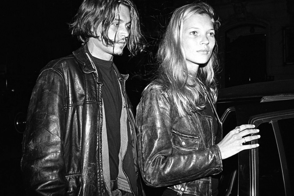 Johnny Depp and Kate Moss in 90s leather