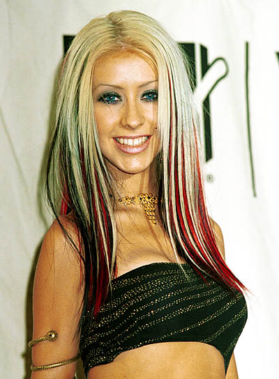 Christina Aguilera with hair streaks 90s 2000