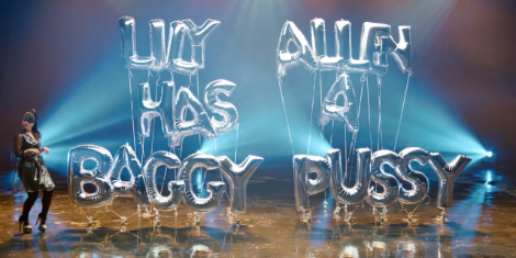 Lily Allen Hard Out Here new music video - baggy pussy balloons - images - leblow.co.uk