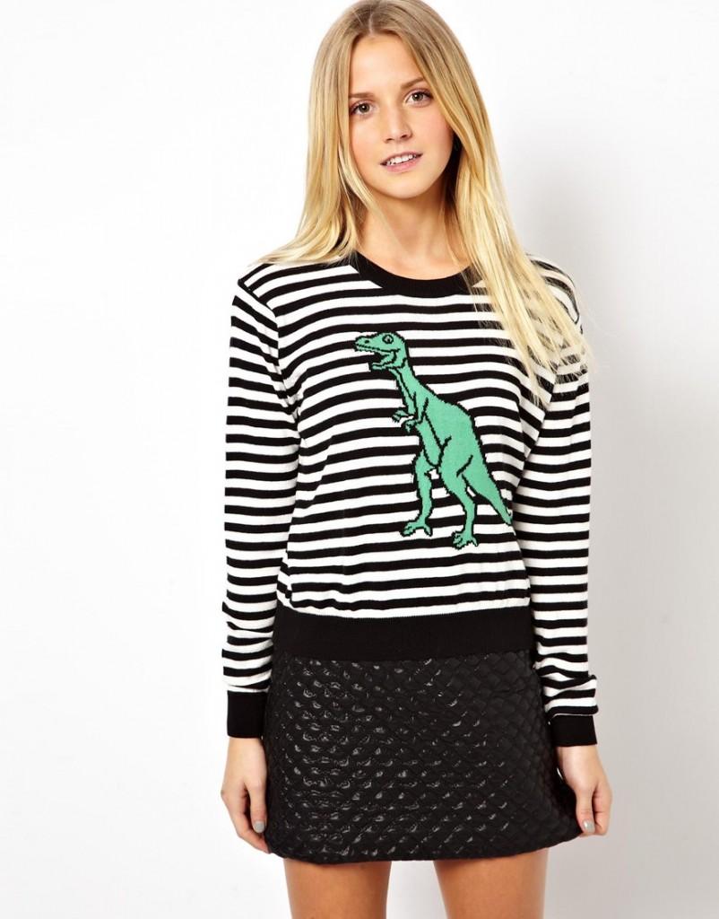 ASOS stripe jumper with dinosaur