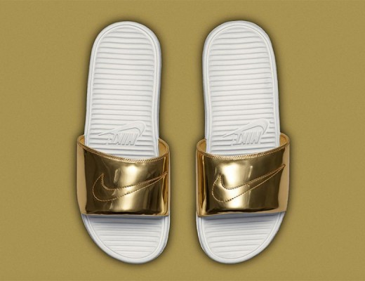 nike gold sliders