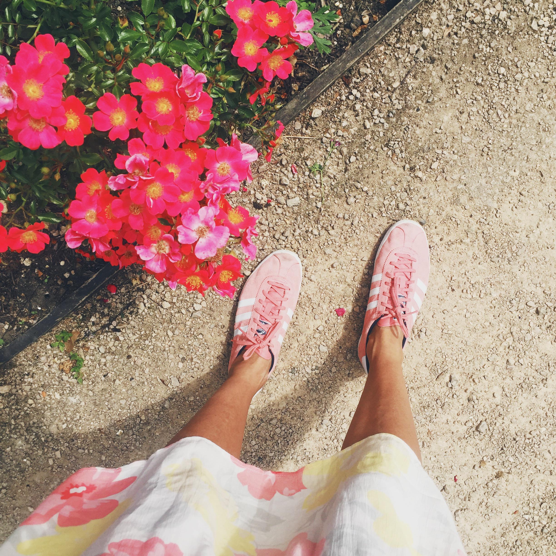pink adidas gazelles natalie wall