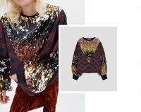 Zara sequin jacquard jumper