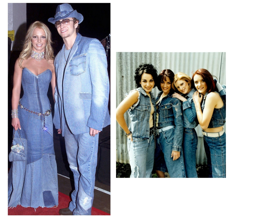 double denim in the 90s b*witched, Justin and Britney