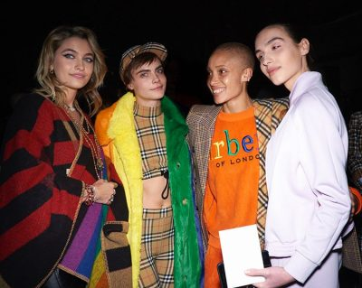 #ParisJackson, #CaraDelevingne and #AdwoaAboah wearing pieces from the February 2018 runway, pictured with #MaximMagnus. #DEAN, #JourdanDunn, #AlexaChung, #NaomieHarris, and #AnnaWintour with daughter #BeeShaffer all wearing #Burberry at the February 2018 runway show