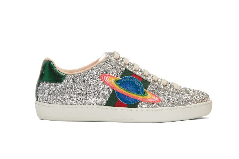 Silver Glitter Planet New Ace Sneakers
