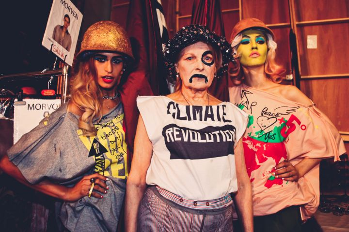 Vivienne protesting backstage by Marta Lamovsek