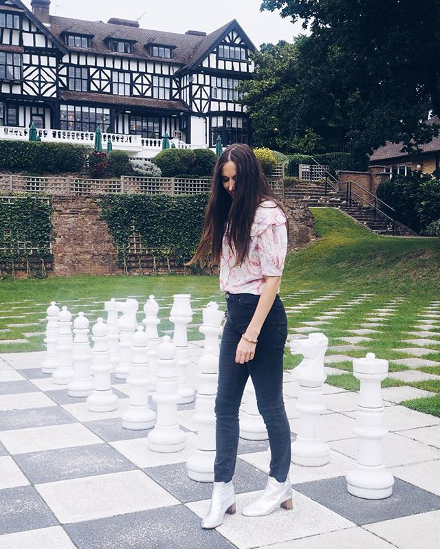 Natalie Wall in vintage Laura Ashley at the Laura Ashley manor house in Elstree